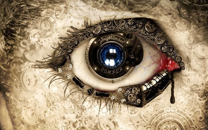 Download wallpapers human eye, mechanic concept, art, creative, gears