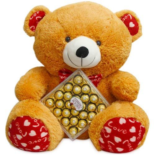 Gift a combo where you have a 26 inch big huggable, super soft and washable teddy bear, with a love message in its paws, ears and bow along with 300gms Ferrero Rocher chocolate box. Best way to express your love. http://www.fnp.com/valentine/valentine_teddy_day.html