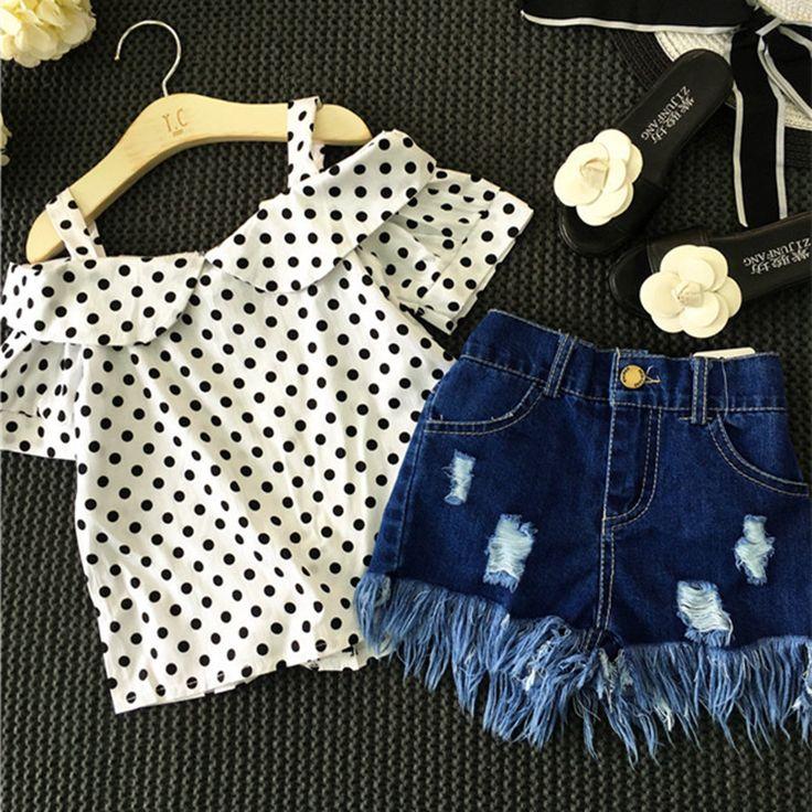 Купить товарКомплект одежды для девочек в горошек белый shoulderless рубашка + кисточка джинсовые шорты штаны комплект одежды для детей джинсовая детская одежда костюм для мальчиков, футболка + штаны для маленьких девочек в категории Комплекты одеждына AliExpress. Комплект одежды для девочек в горошек белый shoulderless рубашка + кисточка джинсовые шорты штаны комплект одежды для детей джинсовая детская одежда костюм для мальчиков, футболка + штаны для маленьких девочек