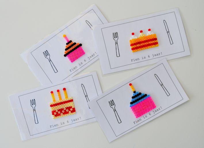 uitnodiging verjaardagsfeestje / knutselen met kleuters / strijkparels