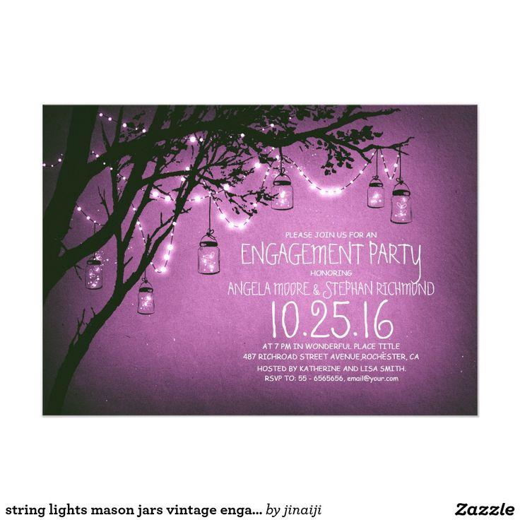 zazzle wedding invitations promo code%0A string of lights mason jars vintage wedding    cm x    cm invitation card