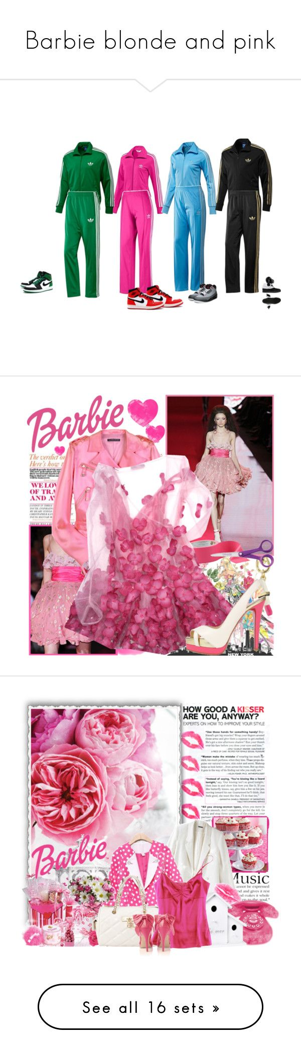 Barbie blonde and pink by saritadoll83 on Polyvore featuring polyvore art sport mode style Stila Noir Bulgari Crate and Barrel Anna Molinari Fiskars Christian Louboutin fashion clothing barbie runway model Arche Aime Shabby Chic JULIANNE Carvela Juicy Couture polka dots bows white handbag blazers floral telephone pink shoes pink top flowers gifts high heels powder white blazer Jason Wu Talula Yves Saint Laurent Pomegranate pink jean shorts tank top denim Paris Hilton PacificPlex Colucci…
