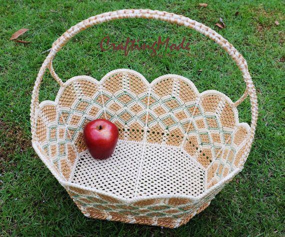 Big sz. Macrame Flower Oval shape Basket by CraftingMode on Etsy