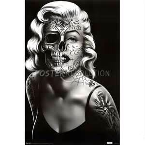 Maralyn Monroe Half Skull Large Tattoo..def thinking about getting the face part tatted