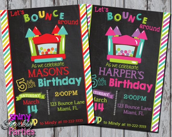 Printable BOUNCE HOUSE INVITATION  Bounce by ShinySparklyParties