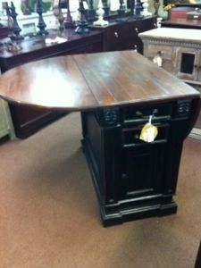 Awesome kitchen island for small space   table top on an old dresser or something like that leaves that would still fold down