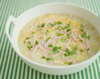 白菜とハムのゆずこしょう雑炊