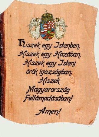 Fatábla-falikép: Hiszek egy...