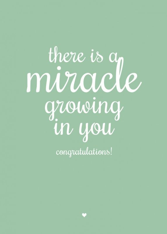 Zwangerschapskaart miracle growing in you aanstaande moeder kaartje ansichtkaart geboortekaartje zwanger zwangerschap mama wonder