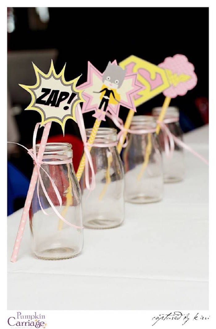 Milk bottles from Supergirl Superhero Themed Birthday Party at Kara's Party Ideas. See more at karaspartyideas.com!
