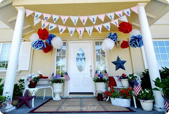 Several ideas and projects to decorate and celebrate teh 4th of July!: Decor Ideas, Decoration, Fourth Of July, Front Doors, 4Th Of July, Parties Ideas, Porches Ideas, July 4Th, Front Porches