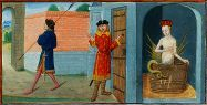 Mélusine en son bain, épiée par son époux Roman de Mélusine par Jean d'Arras. Manuscrit enluminé, XVe siècle. Bibliothèque nationale de France, Manuscrits.