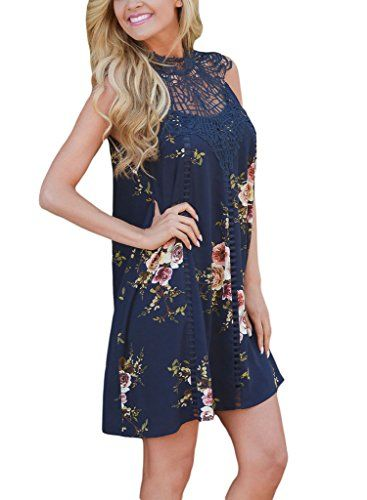 Special Offer: $17.99 amazon.com Classy, fabulous, and warm weather ready! Navy, sleeveless floral print dress with crochet yoke and open slit on back with button closure. Lined. Flowy material.Occasion:Casual, Party, VacationBrand new summer dress create new fashion lookColor may be lighter...