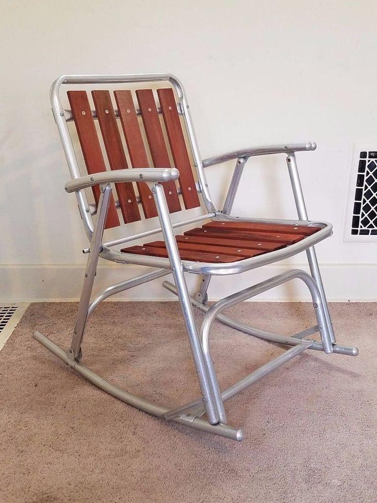 Vintage Redwood Slat Aluminum Lawn Rocker Rocking Chair