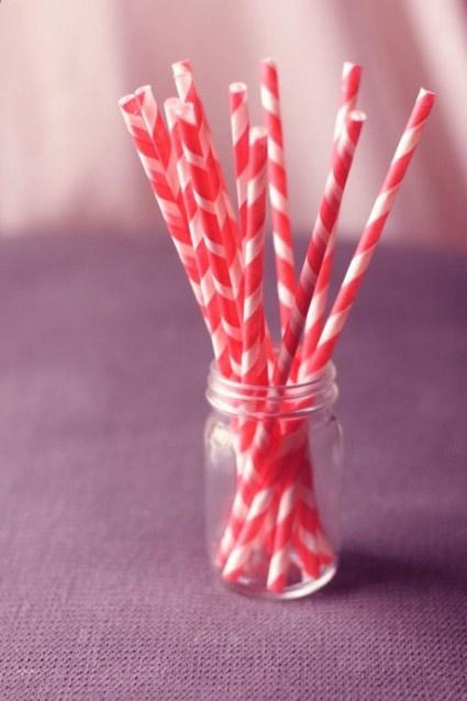 Red Stripe Paper Straws (Box of 144)