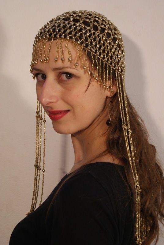 Kralen hoofddeksel kralen mutsje GOUD of ZILVER Cleopatra - Beaded cap Cleopatra GOLD or SILVER | 1001 Nacht, Harem kostuums DAMES | buikdanswinkel-webshop