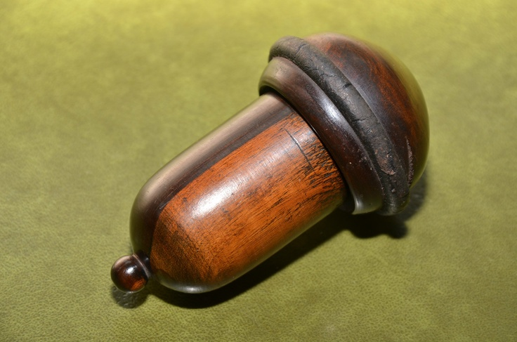 Antique wooden plumb bob with threaded removable top. Rosewood ? lead core. VGC