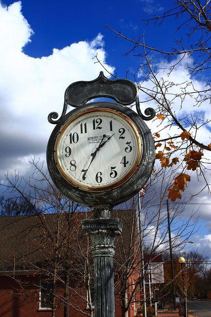 Old Street Clock - Downtown New Harmony, Indiana by danjdavis, via Flickr