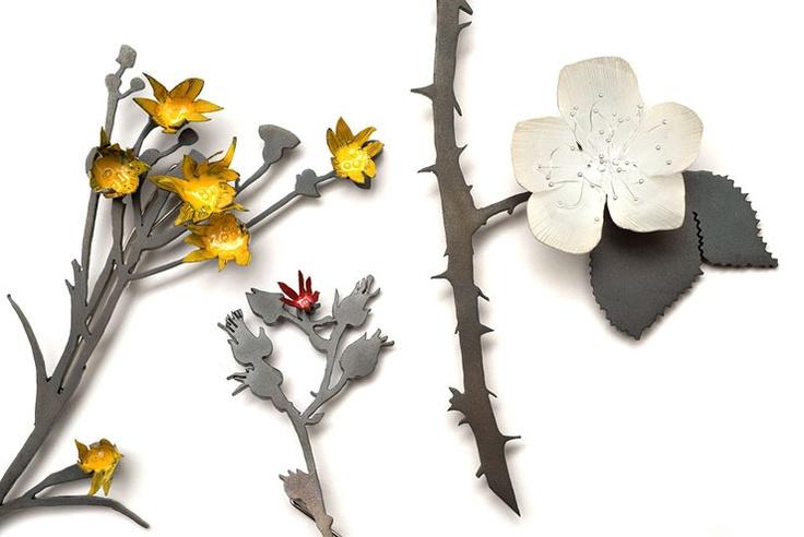 Nina Ellis - Weed brooches  Steel, oxidised sterling silver, fine silver, enamel paint