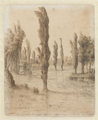 Landscape with poplar, drawing, 1858. Norwegian National Museum.