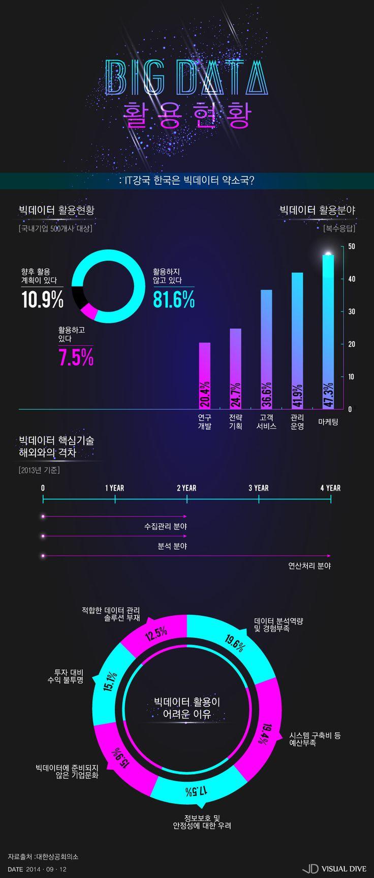 빅데이터 활용 못하는 한국기업들…왜? [인포그래픽] #BigData / #Infographic ⓒ 비주얼다이브 무단 복사·전재·재배포 금지
