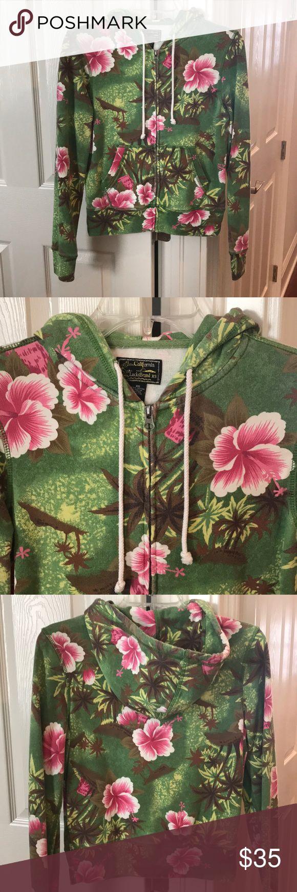 Lucky Brand floral zip up hoodie Lucky Brand floral zip up hoodie. Size XS but fits a S. 100% cotton Lucky Brand Tops Sweatshirts & Hoodies