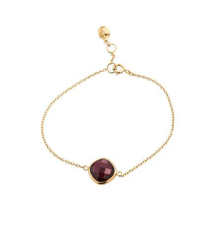 Pulki Bracelet, Garnet, sterling silver, 18kt hard gold plate https://kerryrocks.com.au/product/pulki-bracelet-garnet-gold