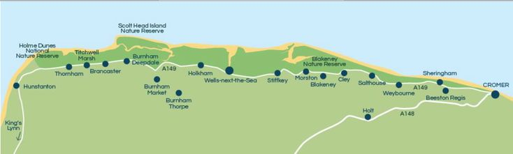 North Norfolk coastal map  Beach, seaside, holiday cottage, self catering.