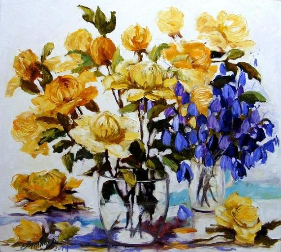Printre clopotei  oil/canvas  size 60cmx60cm  signed Bissinger 2013