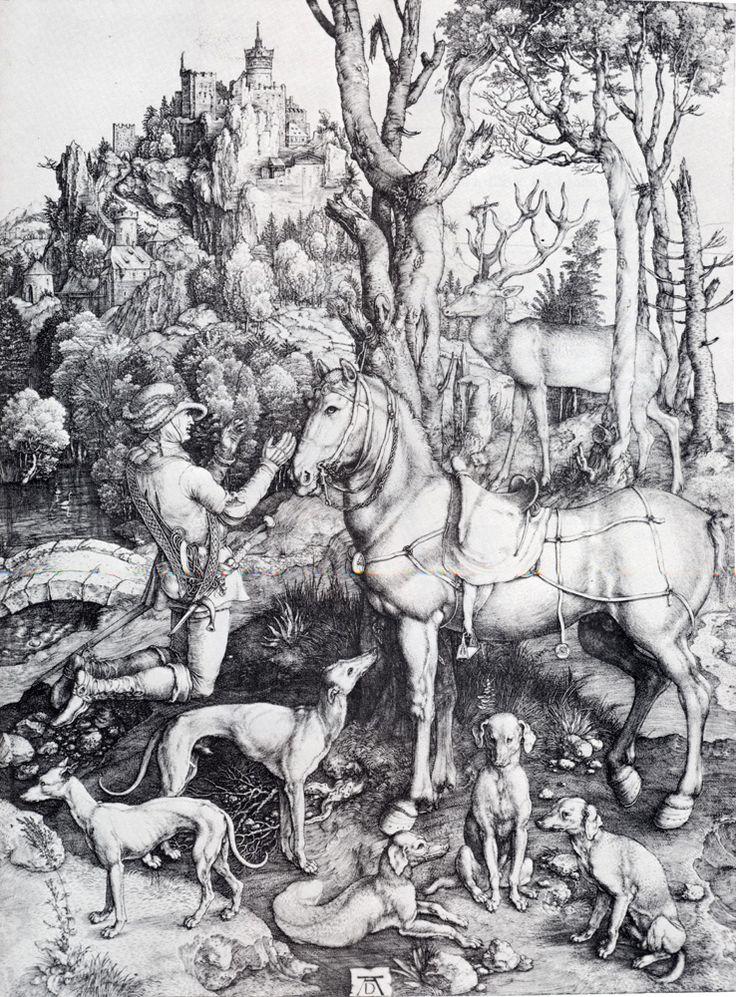 Albrecht Dürer-  Albrecht Durer (1471-1528) St. Eustace Engraving 1501  GRAVÜR