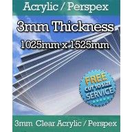 3mm Acrylic Perspex Sheet-Clear-1025mm x 1525mm
