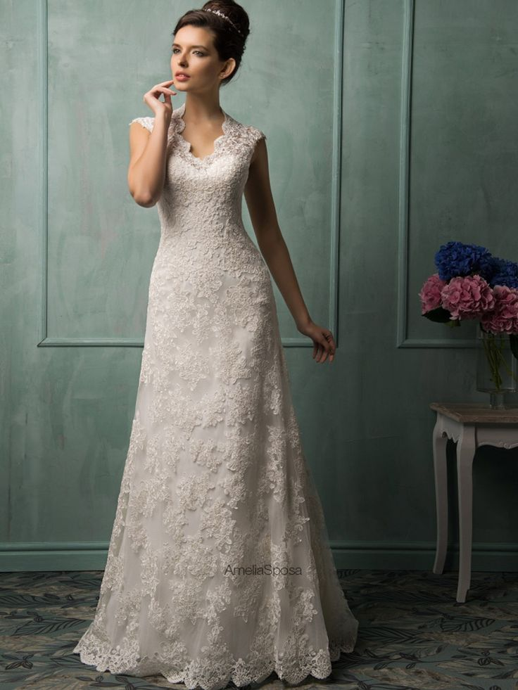 Elegante Cap manga V Neck abrir voltar Lace vestidos de casamento 2015 com botões A linha tribunal trem vestidos de noiva em Vestidos de casamento de Casamentos & Eventos no AliExpress.com | Alibaba Group