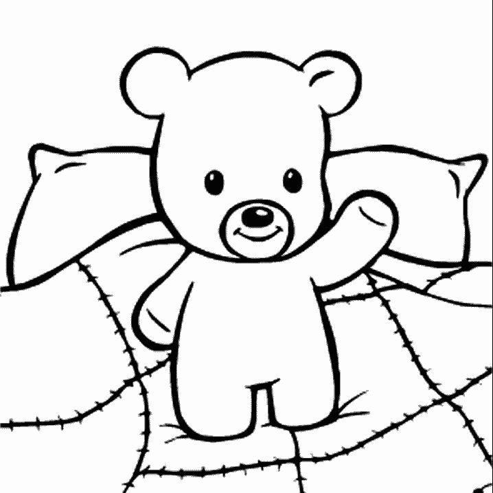 beer op bed kleurplaat