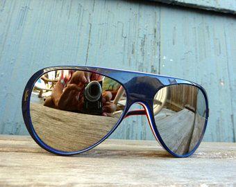Vintage 80s Uvex mirrored ski sunglasses red white & blue