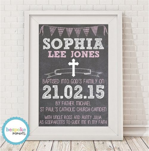 Girls Chalk Christening Print by Bespoke Moments. Worldwide Shipping Available.