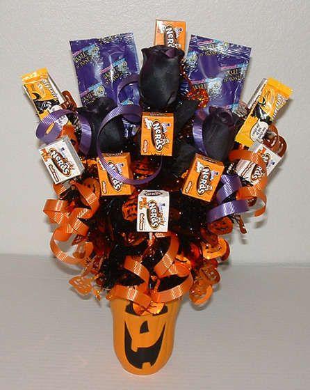 halloween candy bouquet: Halloween Decorations, Halloween Parties, Gifts Ideas, Halloween Candy, Halloween Gifts, Halloween Crafts, Candy Bouquets, Teacher, Halloween Ideas