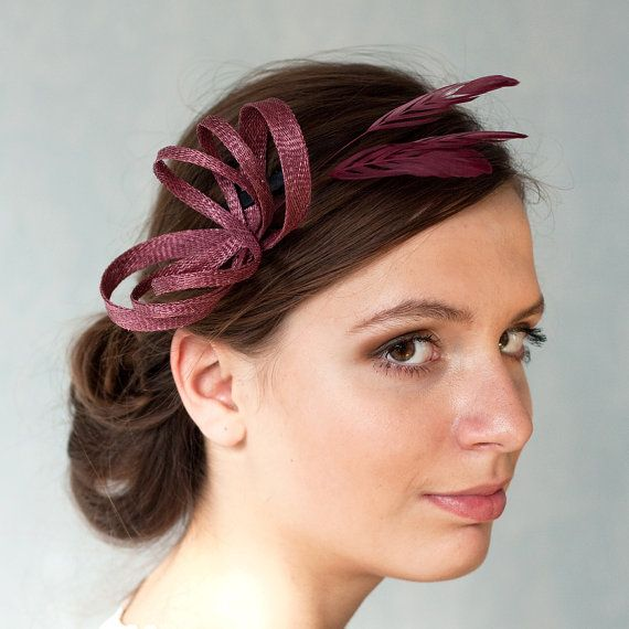 Burgundy fascinator with feathers, bridesmaids accessory, bridal headpiece, LBD accessory