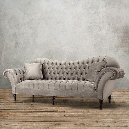 """Club Petite 96"""" Tufted Upholstered Sofa in Arabella Ash   Arhaus Furniture"""