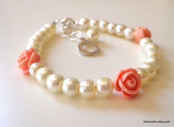 Childrens personalized flower girl bracelet by Gemnotic on Etsy, €7.50 Gorgeous, would be perfect for my girls