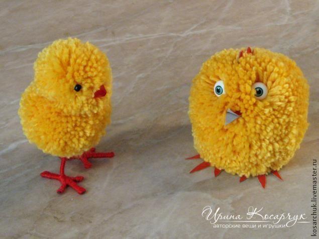 """Мастер-класс: """"Пасхальные цыплята из помпонов"""" - Ярмарка Мастеров - ручная работа, handmade"""
