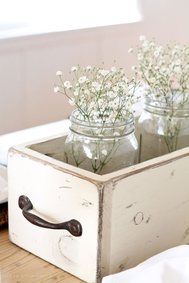 DIY Farmhouse Style Decor Ideas - Weathered White Mason Jar Decor - Rustic Ideas for Furniture, Paint Colors, Farm House Decoration for Living Room, Kitchen and Bedroom http://diyjoy.com/diy-farmhouse-decor-ideas