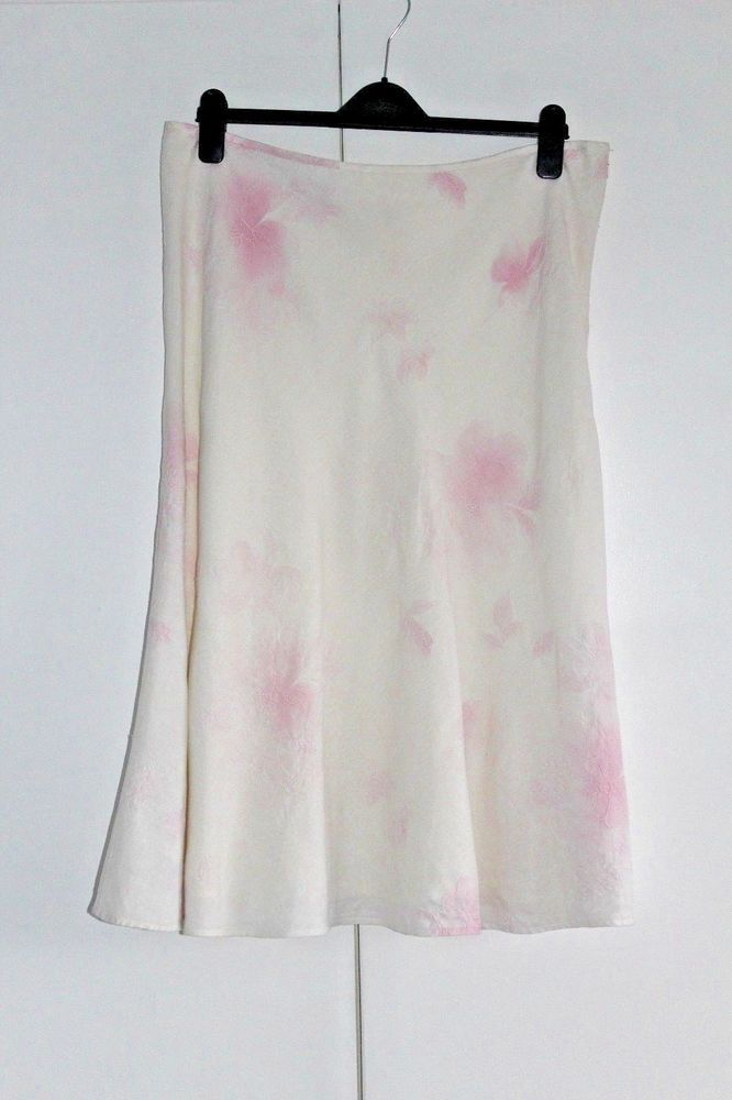 PHASE EIGHT SIZE 16 LINEN SKIRT PINK AND WHITE EMBROIDERED SUMMER SMART (157) #PhaseEight #Aline