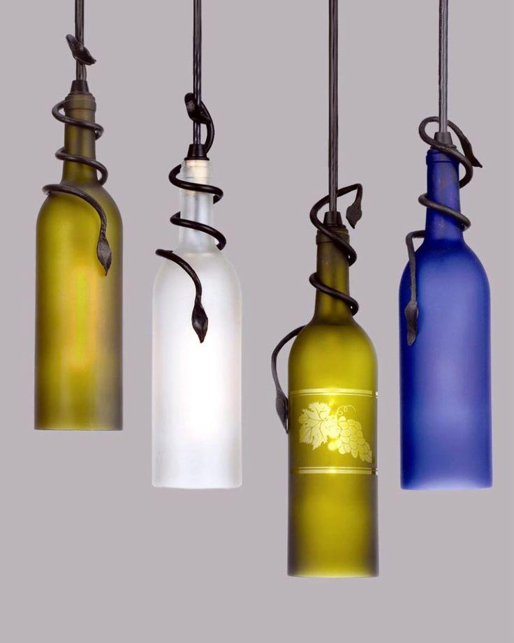 10 Wine Bottle Crafts Ideas : wine bottle light lamps