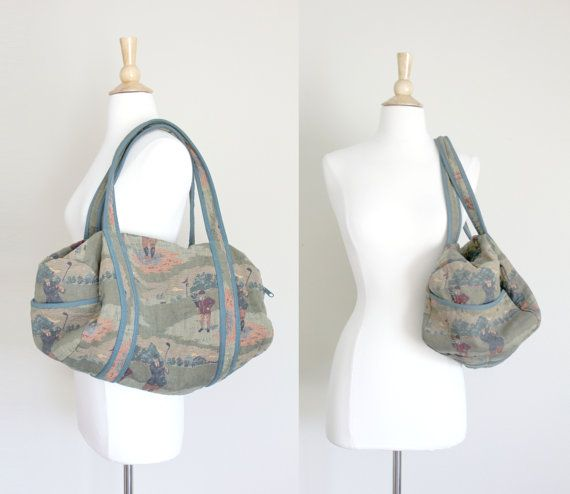 1990s Golf Tapestry Travel Duffel Bag by by copiaandfortuna