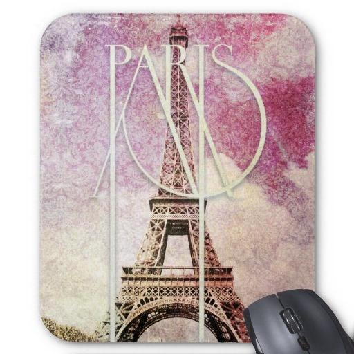 Torre Eiffel cor-de-rosa, roxa feminino do damasco Mousepad