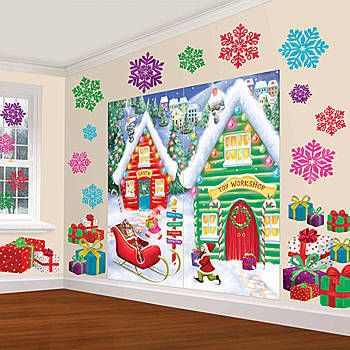 The North Pole Scene Setters features Santa's workshop, presents, snowflakes and Elves filling the sleigh.