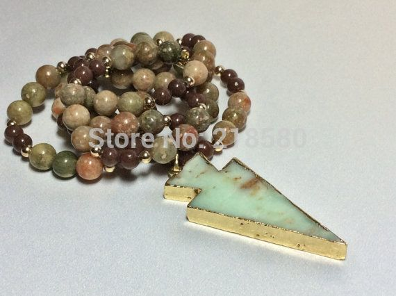 Cheap arrowhead pendant, Buy Quality beads pendant directly from China stone pendant necklace Suppliers: N15112302 Arrowhead Pendant on Brown  Sediment Stone Beads Necklace