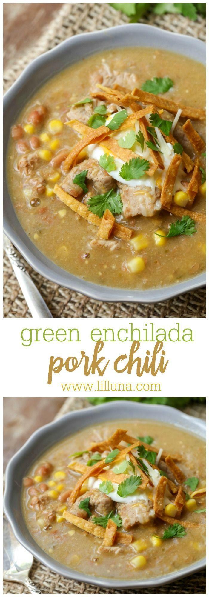 Delicious Green Enchilada Pork Chili filled with beans, corn, pork, broth…