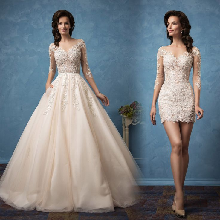 2017 Sexy Wedding Dresses Detachable Skirt Beaded Bridal Gowns  Robe de Mariage See Through Back Lace Appliques Wedding Dress