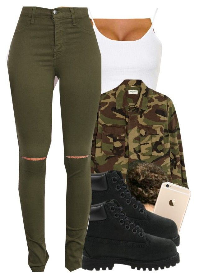 """Untitled #442"" by chyna-campbell ❤ liked on Polyvore featuring Topshop, Yves Saint Laurent, Timberland, women's clothing, women, female, woman, misses and juniors"